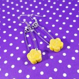 Glittery Rose Safety Pin Earrings by Wilde Designs in yellow