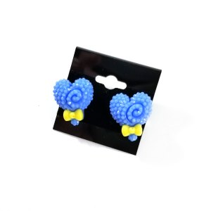 Kawaii Critters Earrings Blue Hearts by Wilde Designs