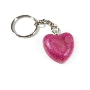 Glittery Magenta Heart Resin Keychain by Wilde Designs