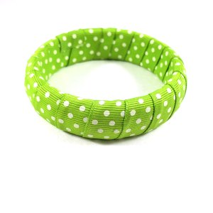 Lime Green Polka Dot Rockabilly Ribbon Bracelet by Wilde Designs