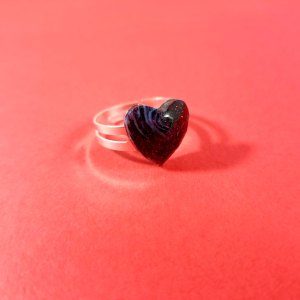 Dark Sparkling Resin Heart Ring by Wilde Designs