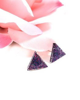 Galaxy Triangle Glittery Resin Earrings by Wilde Designs