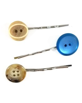 Tan and Blue Button Bobby Pin Set by Wilde Designs