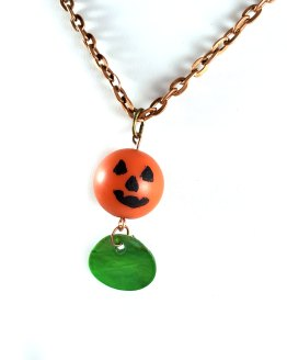 Jack o' Lantern Necklace with Green Scale by Wilde Designs