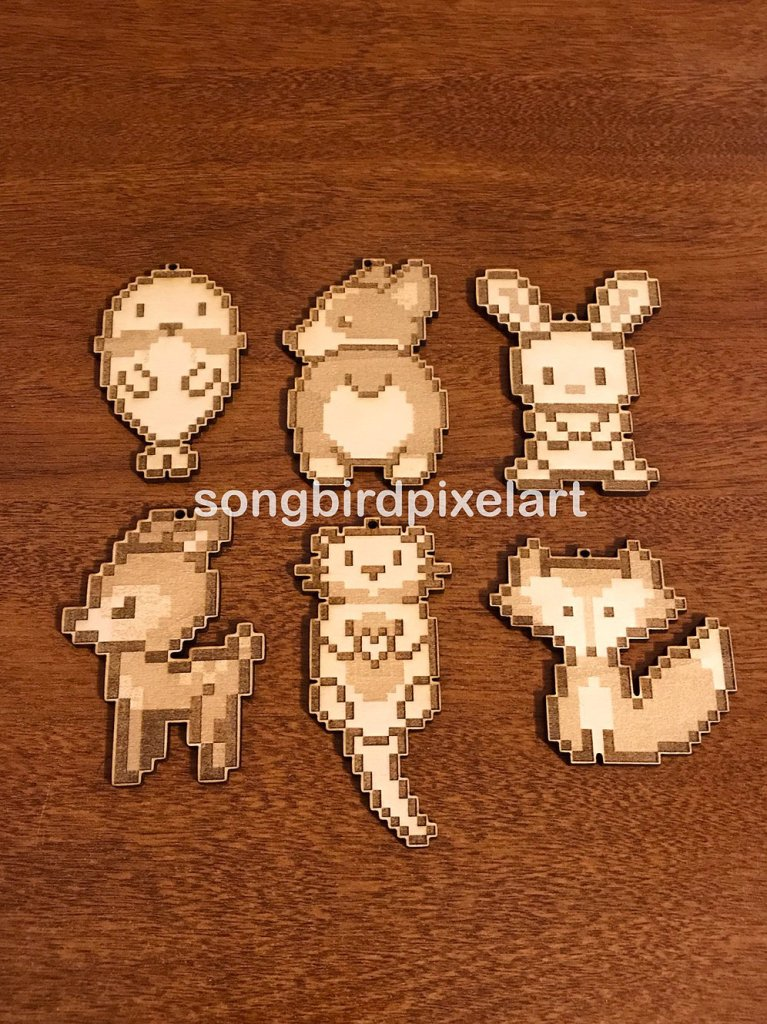 Kawaii Animal Keychains by Songbird Pixel Art