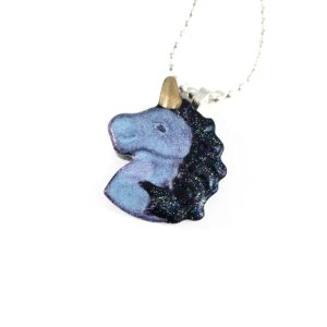 Pastel Goth Unicorn Resin Necklaces by Wilde Designs