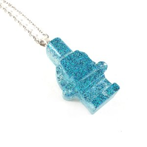 Glittery Blue Block Figure Necklace by Wilde Designs