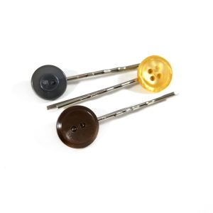 Gray, Yellow and Brown Button Bobby Pin Set by Wilde Designs