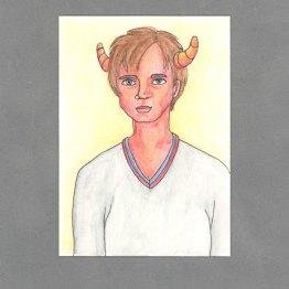 Preppie Demon Boy Art Card by Wilde Designs