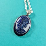 Portrait of a Skeletal Lady in Blue & White Cameo Necklace by Wilde Designs