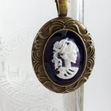Portrait of a Skeletal Lady Cameo Necklaces by Wilde Designs