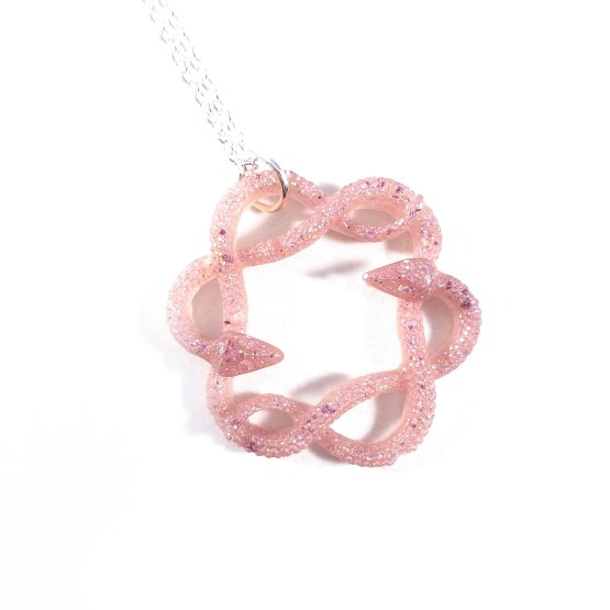 Serpent Circle Necklace in Soft Pink by Wilde Designs