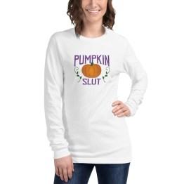Pumpkin Slut Long Sleeved T-shirt by Wilde Designs