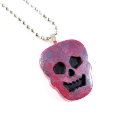 Spooky Skull Necklace in Gray & Red by Wilde Designs