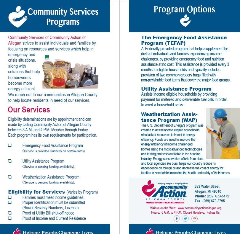 Community Services Insert, Front/Back that inserts into a master tri-fold brochure for Community Action Agency