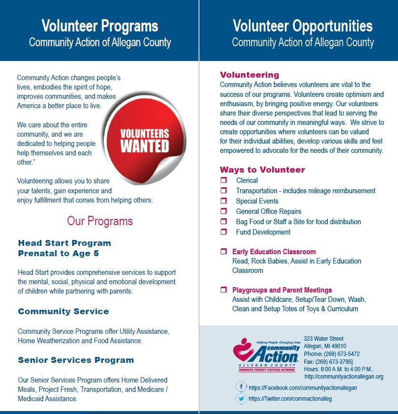 volunteer program insert, Front/Back that inserts into a master tri-fold brochure for Community Action Agency
