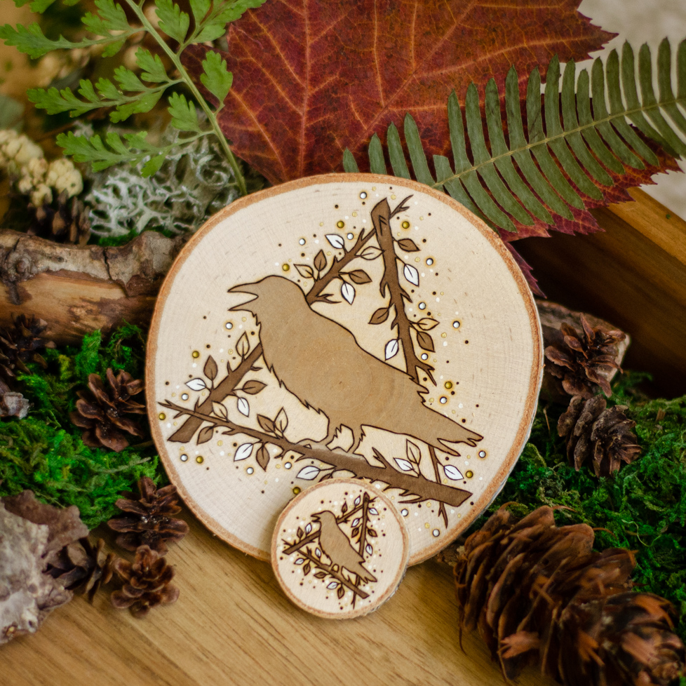 Ansuz Raven - Wooden Runic Ornament