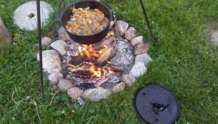 Outdoor Cooking reindeer stew