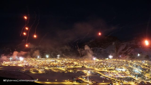 Fireworks on New Years Eve, Heimaey, Vestmannaeyjar, Iceland