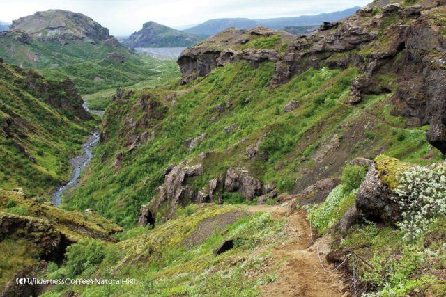 Fimmvörðuháls walking route, Thórsmörk hiking trail, Þórsmörk, Iceland