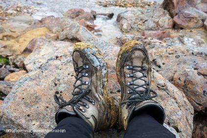 Muddy shoes, Hveradalir geothermal valley, Kerlingarfjöll, Kjölur road, Iceland