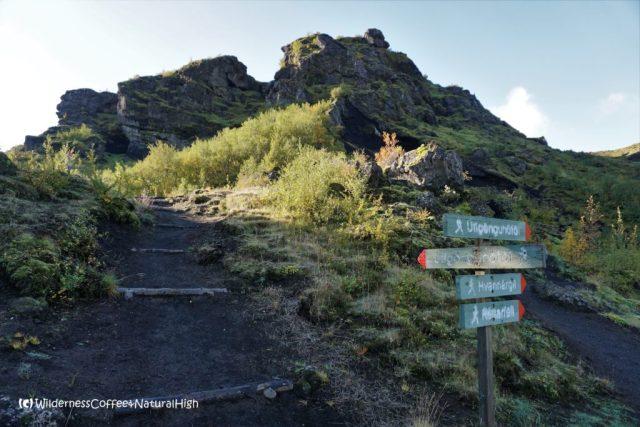 Básar signposts, hiking trail, Þórsmörk, Iceland