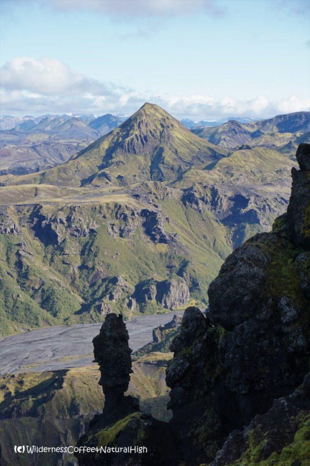Bizarre rock pillars on Útigönguhöfði hiking trail, Þórsmörk, Iceland