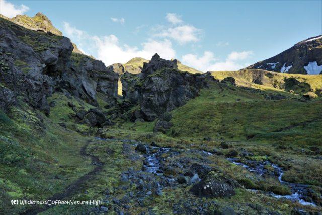 Hvannárgil canyon, hiking trail, Þórsmörk, Iceland