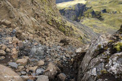 Gravel path down Ütigönguhöfði, hiking trail, Þórsmörk, Iceland
