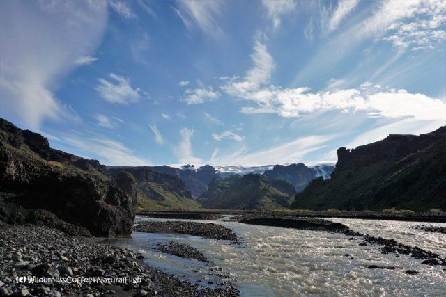 Krossá river and Mýrdalsjökull glacier, Thórsmörk valley, Iceland
