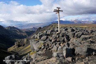 Signpost, Morinsheiði, Fimmvörðuháls hiking trail, Þórsmörk, Iceland
