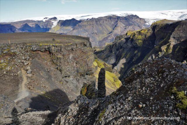 View from Heljakambur ridge, Fimmvörðuháls, hiking trail, Þórsmörk, Iceland