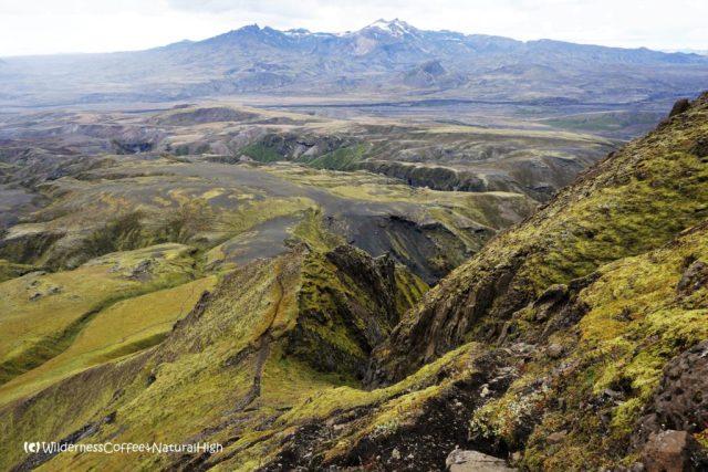 View to Tindfjöll and path down Rjúpnafell, hiking trail, Þórsmörk, Iceland