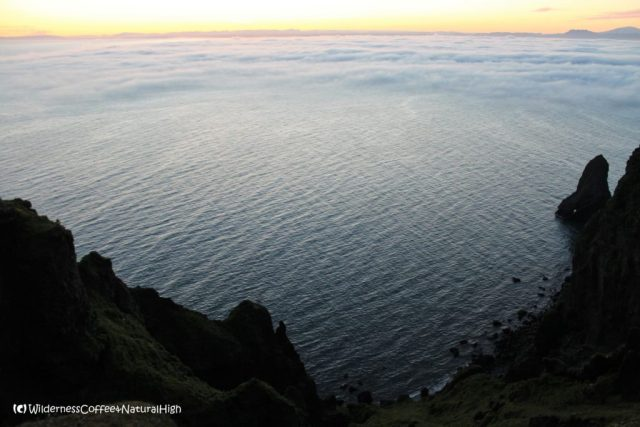 Dalalæða fog moving in over the sea, Vestmannaeyjar, Iceland