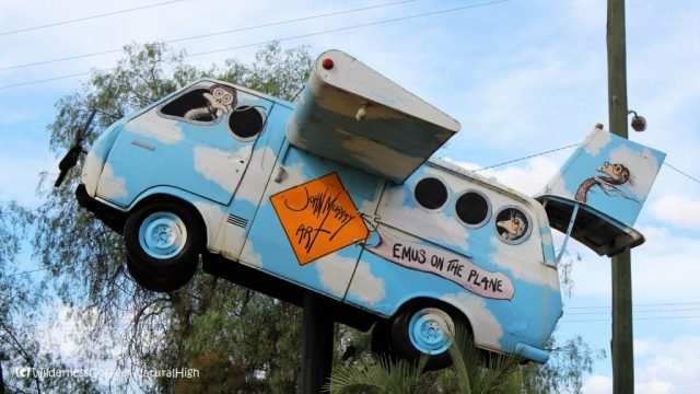 Flying emu bus, quirky work of art, Lightning Ridge, New South Wales, Australia