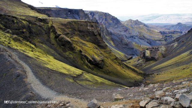Folded valleys, Fimmvörðuháls walking route, Thórsmörk hiking trail, Þórsmörk, Iceland