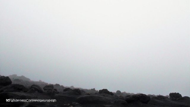 View into the fog-filled craters of Stromboli volcano, Italy