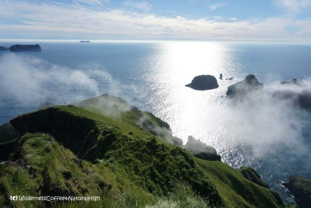 View down the coast from Dalfjall, Heimaey, Vestmannaeyjar, Iceland
