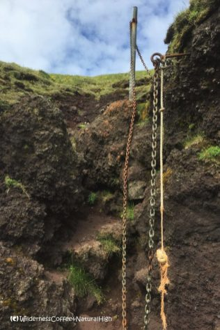 Klif hike, chains and ropes, Heimaey, Vestmannaeyjar, Iceland