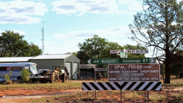 Signpost to the opal fields of Lightning Ridge, New South Wales, Australia
