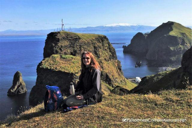 Wilderness Coffee with a view to Klif and Heimaklettur, Vestmannaeyjar, Iceland