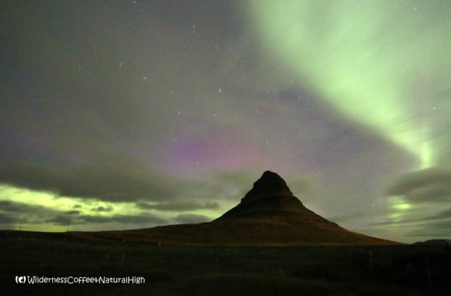 Northern lights above Kirkjufell, Grundarfjörður, Snæfellsnes, Iceland