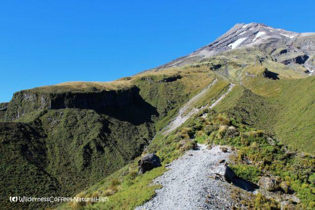 Steep stratovolcanic paths, Mount Taranaki, North Island, New Zealand