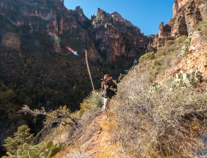 Wilderness Dave stopping for photographs along Cold Spring Canyon Trail - by Jabon Eagar - Sierra Ancha Wilderness