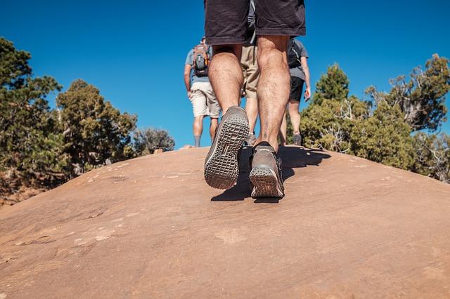 feet walking on the hill