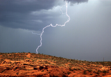 lighting strikes red rocks