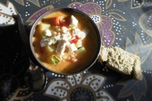 Zucchini-Suppe mit Feta / Courgette soup with feta