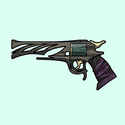 Destiny 2 Malfeasance exotic hand cannon illustration designed by WildeThang