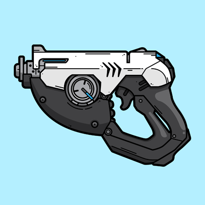 Tracer's Gun from Overwatch illustration designed by WildeThang