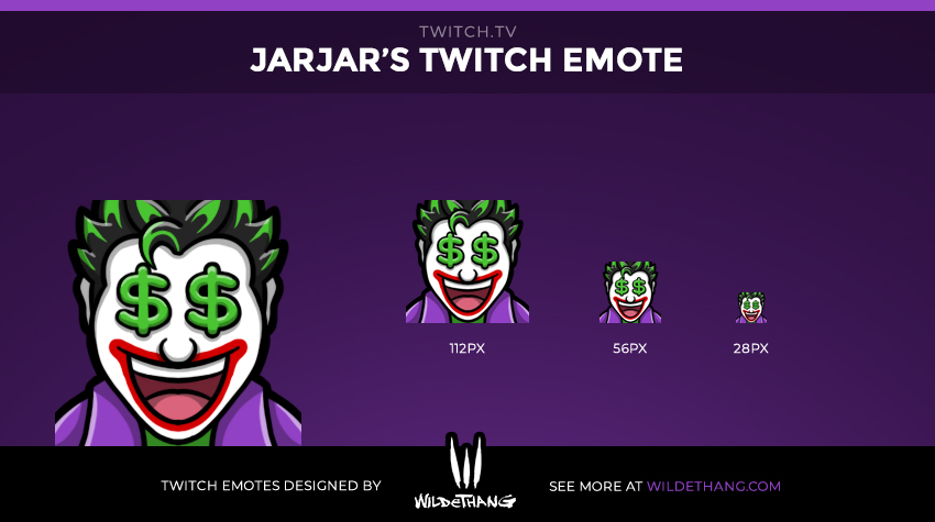 JarJar's Joker Twitch emote designed by WildeThang Twitch Emote Artist
